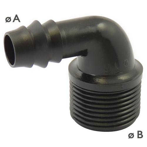 ADAPTATEUR COUDE A 90° MALE A VISSER - RACCORDS CANNELES POUR ARROSAGE ET SYSTEME EN GOUTTE A GOUTTE